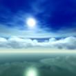 水面に映る雲の上の満月