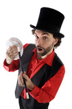 surprised magician doing a trick of letters poster