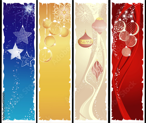Christmas vertical banners with pendants.