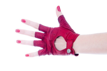 Female hand in leather fingerless glove