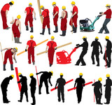 Team of Construction workers in red workwear an yellow helmets. poster