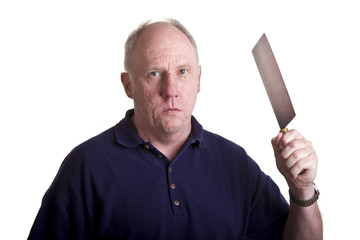 A mean old bald guy threatening with a kitchen cleaver