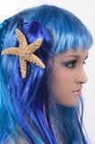 Mermaid with beautiful make up and starfish poster