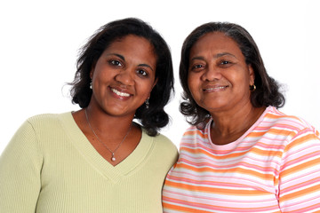 Minority Mother and Daughter Set On A White Background