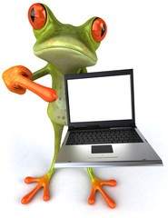 Grenouille avec un ordinateur portable