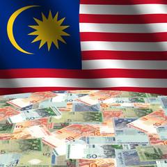rippled flag with Malaysian Ringgit globe illustration