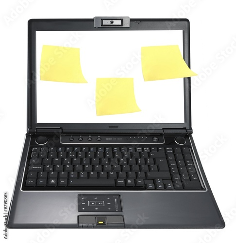 Post it notes on the screen isolated