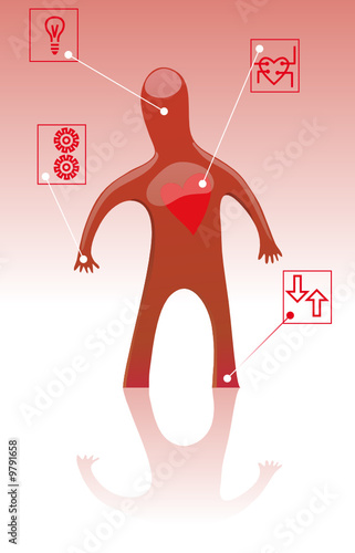 Man with pictorial captions and symbols. Medical concept