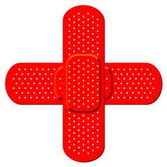Bandaids forming a red cross isolated over white