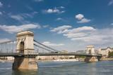 Chain bridge over Danube, in Budapest, Hunagary. poster