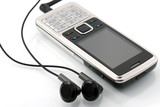 Mobile phone with earphones. Mobile music. poster