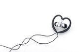 heart-shaped earphones isolated on white poster