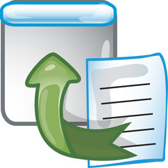 Icon of a file being exported