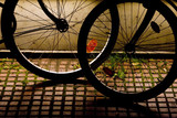 silhouette of bicycles wheels at night light.. poster