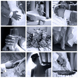 Collage of nine wedding photos in gentle - blue tone poster