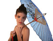 Beautiful Young Woman with Color Blue Umbrella