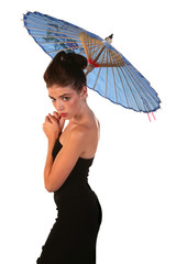 Beautiful Young Woman in Black Dress with Blue Umbrella