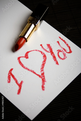 I Love You words written with red lipstick