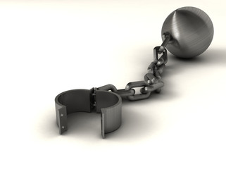 Ball and chain suggesting freedom - rendered in 3d