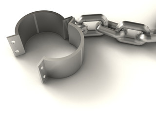 Prison chain suggesting freedom - rendered in 3d