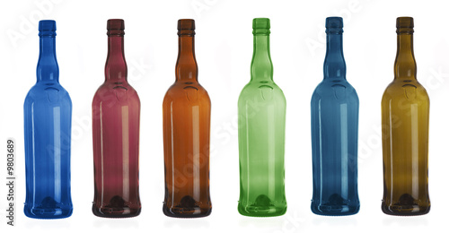 Six multi-coloured bottles worth on a white background