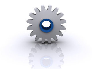 A conceptual gears on white background - rendered in 3d
