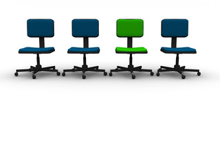 Three blue chairs and a green one - rendered in 3d