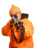 hunter pointing rifle in blaze orange gear poster