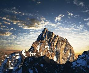Mountains peak on sunrise