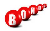 red bonus word made of spheres on white background, poster