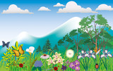 Idyllic mountain scene with flowers, butterflys and mountain poster