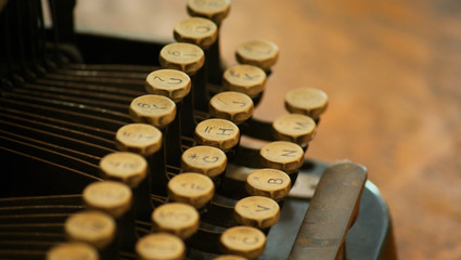 Closeup of Old Typewriter Keys