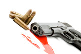 murder concept - gun and blood studio isolated poster