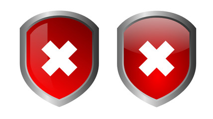 Glossy green shields - INCORRECT ICON - vector