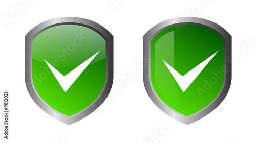 Glossy green shields - CORRECT ICON - vector