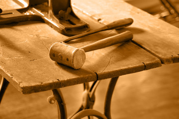 Antique Work Bench with Mallet in Sepia