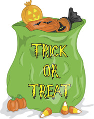 Colorful illustration of a halloween bag full of candy.
