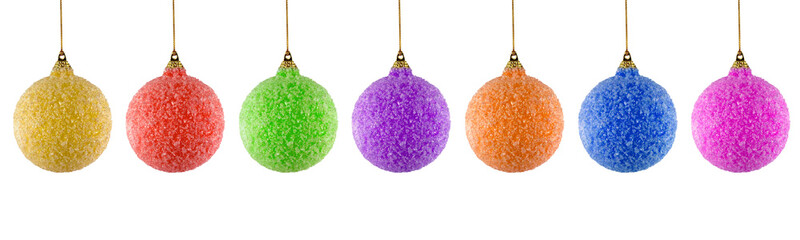 colored christmas balls on white background