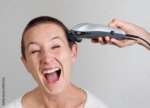 Aluminium Young woman at hairdresser