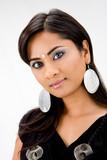 Beautiful woman with rhinestones and bindi, isolated poster