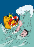 Drowning man being thrown a lifeline poster