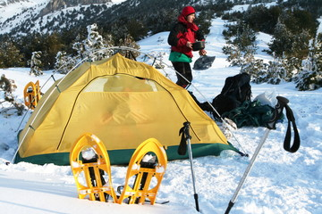 Tent in winter mountain