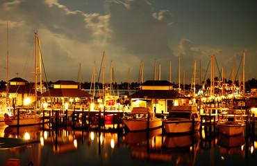 Night at a Naples Bay marina, Florida