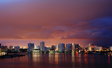 Night view on Aventura from Sunny Isles Beach