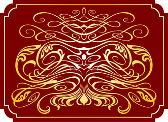 gold monogram on a dark-red background