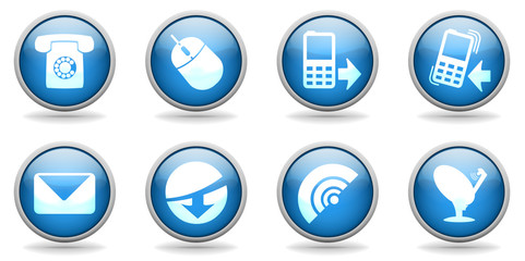 Blue web communication icons or buttons