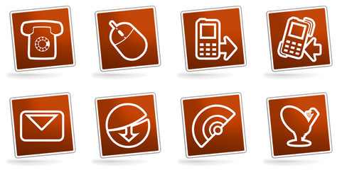 Red web communication icons or buttons