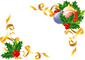 Christmas decoration/ Holly, balls and ribbon / vector