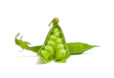 Green pods one of them open, on white background poster