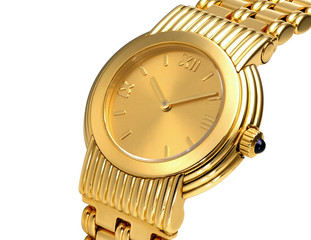 Close up of a fashionable golden watch